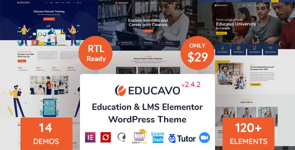 Nulled Educavo v2.4.2 - Online Courses & Education WordPress Theme